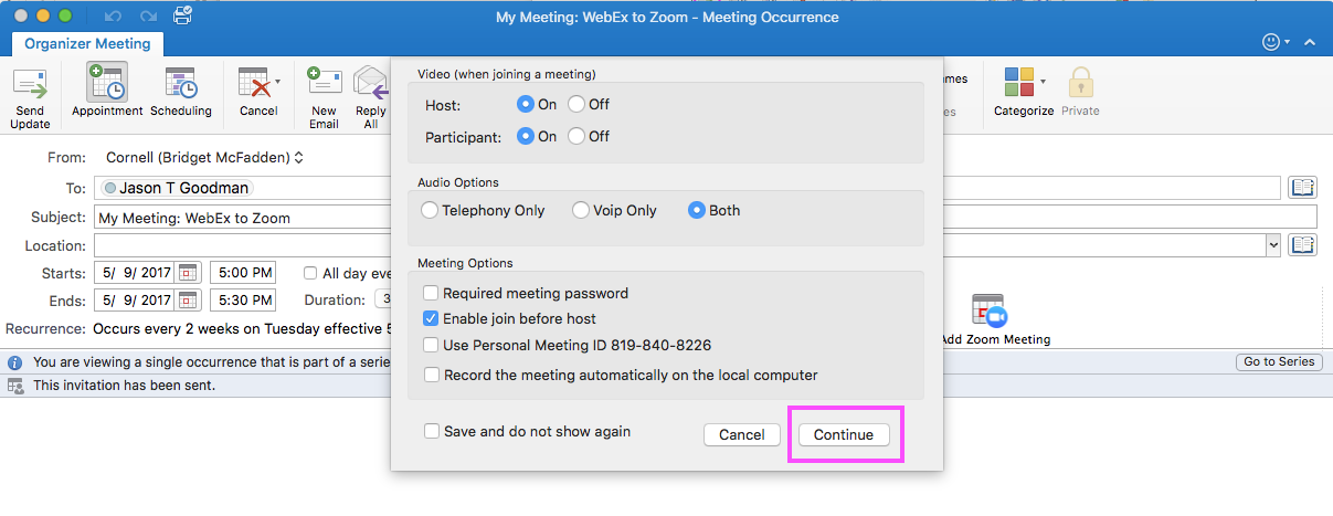 How to update recurring Outlook meetings from WebEx to Zoom