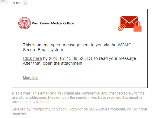 encrypted email notice
