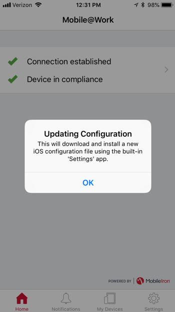 How to connect a new mobile device to MobileIron